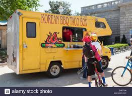 100 Korean Bbq Food Truck Taco Food Truck BBQ Food Truck USA Stock Photo