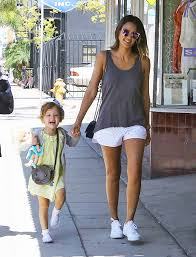 Jessica Alba Lights Up The Summer With Sporty Eyelet Shorts