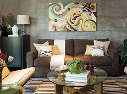 Living Room Decorating Brown Sofa by Living Room With Brown Couch Colorful Art Behind Light Pillows