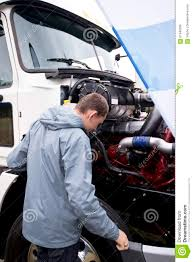 100 Semi Truck Engine Driver Checking Operation With Open Hood