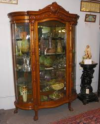 antique large oak curved glass curio china cabinet china