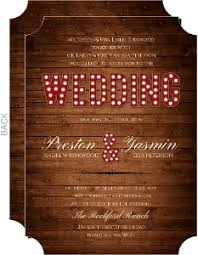 Rustic Wood Marquee Decor Wedding Invitation