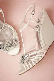 White Bejeweled Wedding Wedges