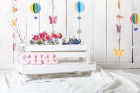 Baby Girl Child Photography Studio Background Setup Stock Photo