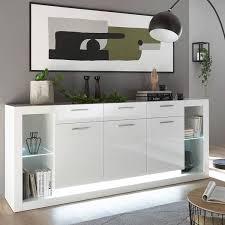 modernes design wohnzimmer set mit sideboard und 2 vitrinenschränke mailand 61 in hochglanz weiß mit beleuchtung b h t 398 195 37 43 cm