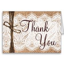 Burlap Lace Rustic Wedding Thank You Cards