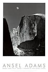 Moon And Half Dome Yosemite National Park 1960 Art Poster Print By Ansel Adams 24x36