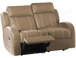 canap relax 2 places cuir canapé cuir europe canvas 2 places relax taupe pas cher ubaldi com
