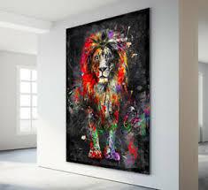 aludibond wandbild löwe abstrakt kunstdruck bilder tiere