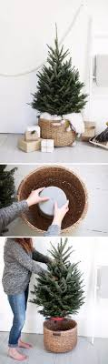 DIY Christmas Tree Stand Using Bucket Upside Down In A Large Basket