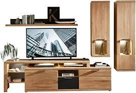 bianco wohnwand komplett set teil massiv aus wildeiche moderne schrankwand für ihr wohnzimmer 285 x 190 x 48 cm b h t