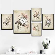vintage taschenuhr vogel feder blume wand kunst leinwand malerei nordic poster und drucke wand bilder für wohnzimmer decor