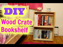 Wood Crate Shelf Diy by Wooden Crate Bookshelf Diy Project Youtube