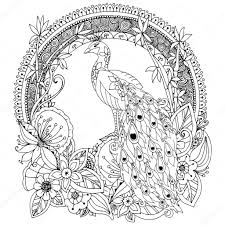 Vector Illustration Zen Tangle Peacock And Flowers Doodle Drawing Coloring Book Anti Stress For Adults Black White By Tanvetka