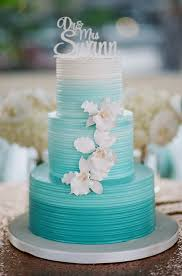 Aqua Ombre Wedding Cake With White Orchids