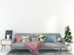 graues sofa im wohnzimmer 1270005 stock foto