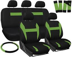 Oxgord Trim 4 Fit Floor Mats by Car Seat Covers Green Black 17pc Set For Auto Steering Wheel Belt