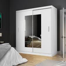 selsey kleiderschrank vaniva mit spiegel und schiebetüren in weiß matt 180 cm