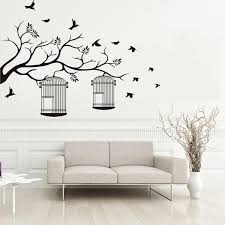 Tree Branches Birdcage Birds Wall Stickers Living Room Bedroom Removable Background Decor Decals Home Decoration Wallpaper Poster Mural