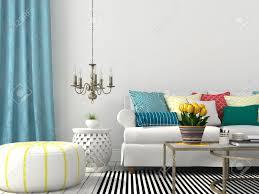 weiß innenraum wohnzimmer mit bunten kissen und blauen vorhang
