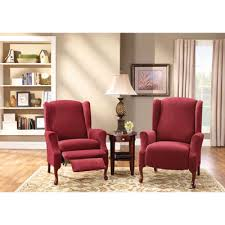 wing chair recliner slipcovers fit stretch piqué 2 pc wing recliner slipcover