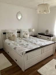 schlafzimmer komplett schrank bett kommode landhaus weiß braun