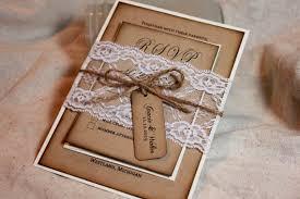 Rustic Wedding Invitation Set Lace And Kraft Invite Burlap Invitations Distressed