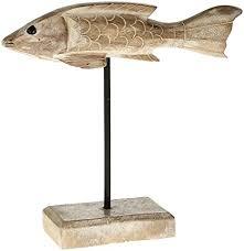 macosa ex230119 deko fisch auf sockel holz braun maritime badezimmer dekoration bad accessoires dekofisch skulptur zierfisch figur holzfigur holzfisch