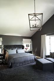 Bedroom Attractive Monochromatic Palette Modern Interiors Design With Grey Bed Platform Along Gray Covered Covers Plus Padded Bench On