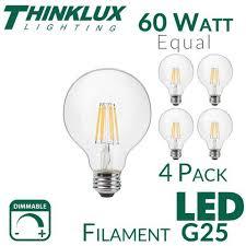 thinklux filament led g25 3 inch globe edison style light bulb 7
