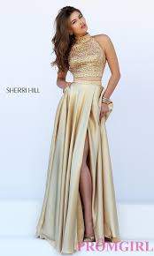 high neck two piece sherri hill dress promgirl