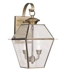 livex 2281 01 westover 2 light 17 inch antique brass outdoor wall