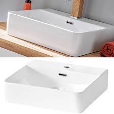 badezimmer set mit keramik waschtisch luton 56 hochglanz weiß mit wotaneiche b x h x t ca 180 x 200 x 46 cm