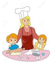Child Helping Mother In Kitchen Clipart