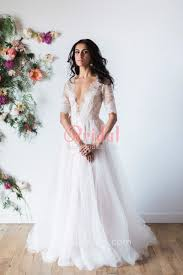 Vintage Sheer Plunging V Neck Elbow Length Sleeve Airy Wedding Dress 1