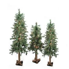 7ft Pre Lit Christmas Trees by Set Of 3 Pre Lit Woodland Alpine Artificial Christmas Trees 4 U0027 5