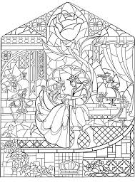 Disney Beauty And The Beast Stained Glass Free Coloring Page