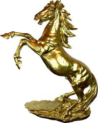 casa padrino deko skulptur wildes pferd gold h 90 cm elegante kunstharz dekofigur wohnzimmer deko accessoires