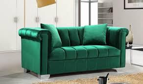 Armen Living Barrister Sofa Green Velvet by Velvet Loveseat