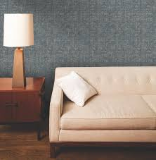 Exciting White Tufted Sofa With Nightstand And Table Lamp Plus Gray Peel Stick Wallpaper