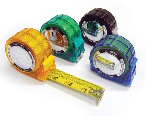 Komelon Colours Tape Measure with Acrylic Coated Steel Blade - 16ft x 1in, Assorted Colors