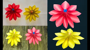 Beautiful DIY Paper Flower With Colour Simple Flowers Making
