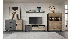 places of style wohnzimmer set malthe 4 tlg im trendigen design 1 kommode 1 kleine vitrine 1 lowboard 1 wandboard