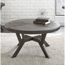 Shop Avilla Grey WoodMetal 36inch Round Industrial Coffee Table By