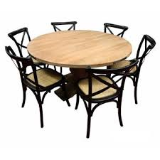 Utah Dia 135Cm Solid Mango Wood Dining Table 5 Black Cross Back Chairs