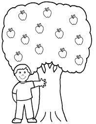 A Boy And His Apple Tree Colouring Page