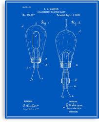 edison light bulb patent blueprint canvas prints by