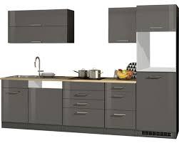 küchenleerblock held möbel mailand grafit hochglanz 300 cm ohne e geräte