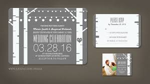 Birch Tree And String Lights Wedding Invitations
