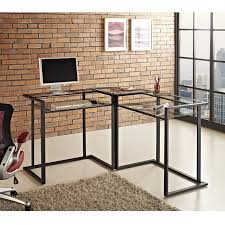 amazon com we furniture 56 metal glass corner computer desk